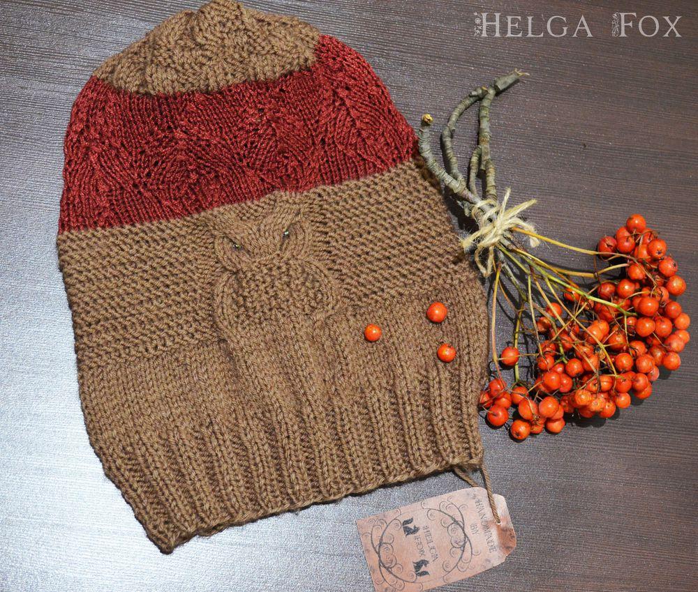 шапка спицами, бордовый, зима