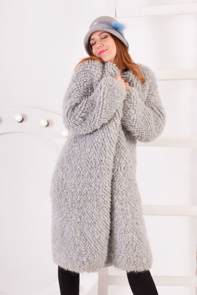 купить кардиган, модный, пальто, светло-серый
