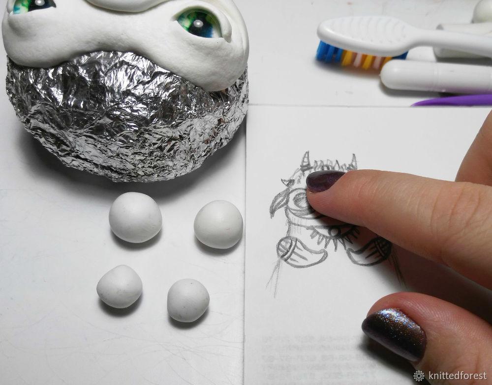 Процесс создания авторской игрушки из полимерной глины. Часть 1. Лепка мордочки, фото № 25