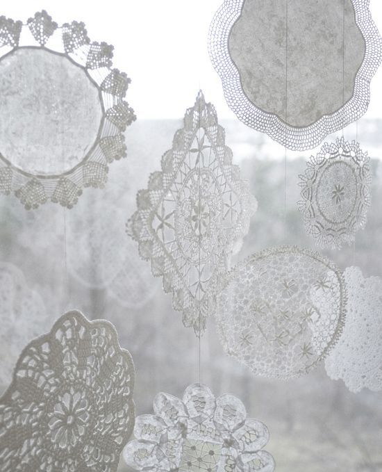 snowflakes from doilies