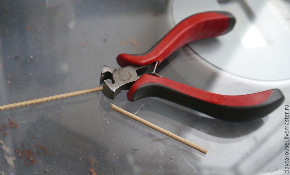 Шпильки из полимерной глины мастер класс поделка #9