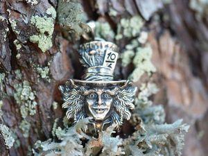 Кулон Шляпник, серебро 925 пробы с чернением. Ярмарка Мастеров - ручная работа, handmade.
