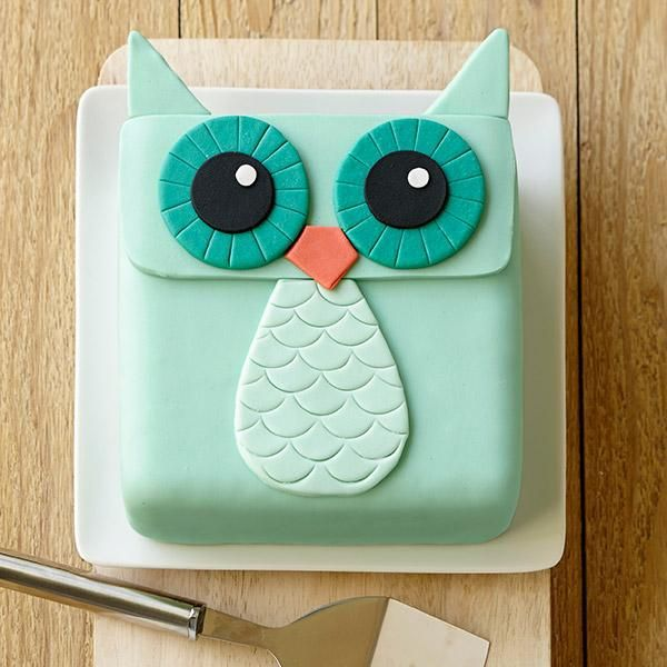 Wide-Eyed Owl Cake - Owls are hot, and this cake is especially fun with the teal and orange shades used. Decorating is easy with our Decorator Preferred™ Fondant.