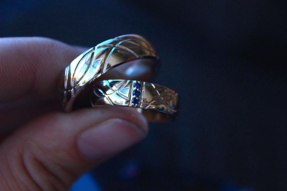 обручальные кольца, сапфир
