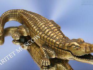 РАРИТЕТИЩЕ Крокодил шкатулка сигаретница бронза 2 | Ярмарка Мастеров - ручная работа, handmade