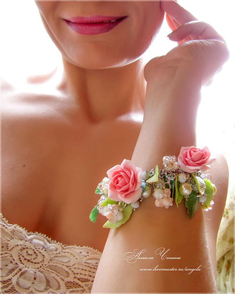 розы из fimo браслет