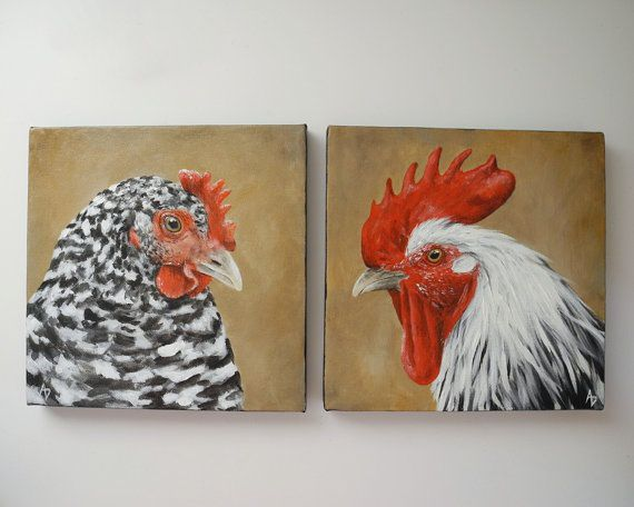 Chicken and Rooster painting barnyard bird art by BirdsinHand, $110.00