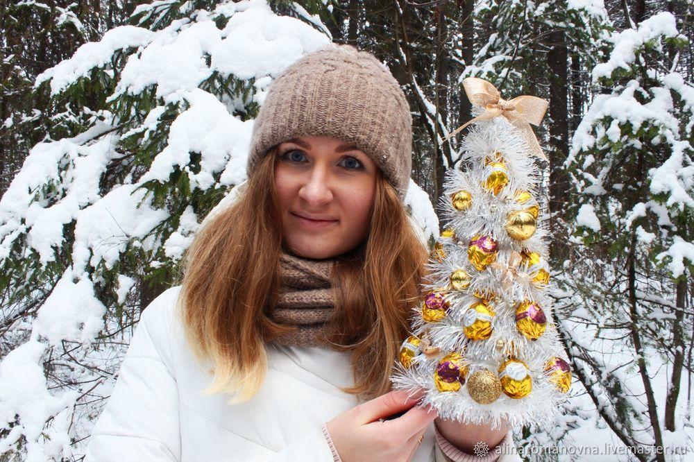 новогодняя елка, своими руками, ёлочка из мишуры, елочка из конфет