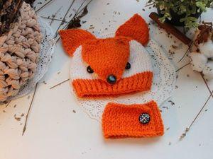 Шапка-лиса для куколки-небольшой фото мк. Ярмарка Мастеров - ручная работа, handmade.