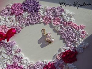 """Ирландское кружево. Воротничок """"Розовая мечта"""". Ярмарка Мастеров - ручная работа, handmade."""