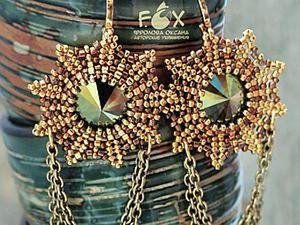 Original Golden Stars: Creating Beaded Bezel Rivoli Earrings. Livemaster - handmade