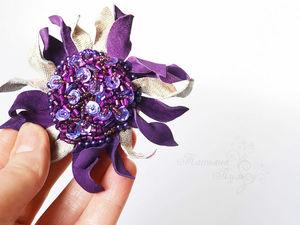 СЕЙЧАС! Аукцион с 0 на брошь цветок из кожи.. Ярмарка Мастеров - ручная работа, handmade.