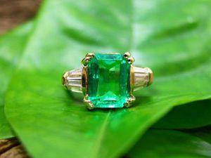 НЕЗАБЫВАЕМОЕ!!!! кольцо с чистейшим изумрудом с бриллиантами!!! | Ярмарка Мастеров - ручная работа, handmade
