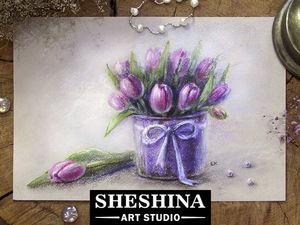 Рисуем букет тюльпанов сухой пастелью: видеоурок. Ярмарка Мастеров - ручная работа, handmade.