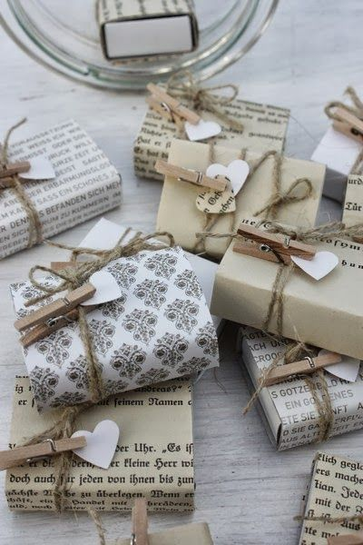 favors wrapped in book pages and twine | follow and repin #diywithstyle