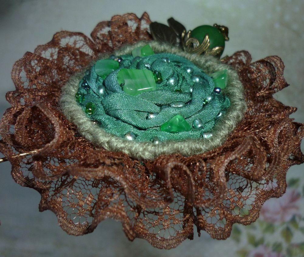брошь-цветок, крепдешин