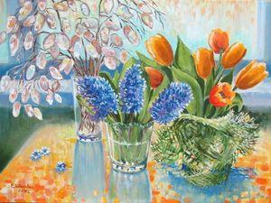 15% скидка! Весенние цветы на холсте!. Ярмарка Мастеров - ручная работа, handmade.