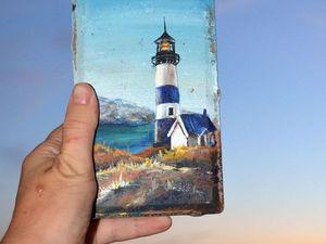 Целый день рисую море и маяки... На этот раз на брусчатке). Ярмарка Мастеров - ручная работа, handmade.