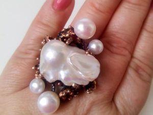 Скидка 30% на кольцо с барочным жемчугом. Ярмарка Мастеров - ручная работа, handmade.