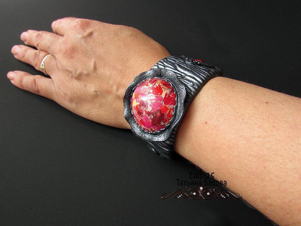 видеообзор, браслет ручной работы, широкий браслет, браслет полимерная глина, украшение на руку, новая работа, новая модель