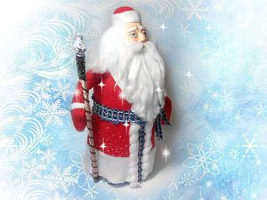 Дед Мороз с личиком из полимерной глины из бутылки и двух шапок | Ярмарка Мастеров - ручная работа, handmade