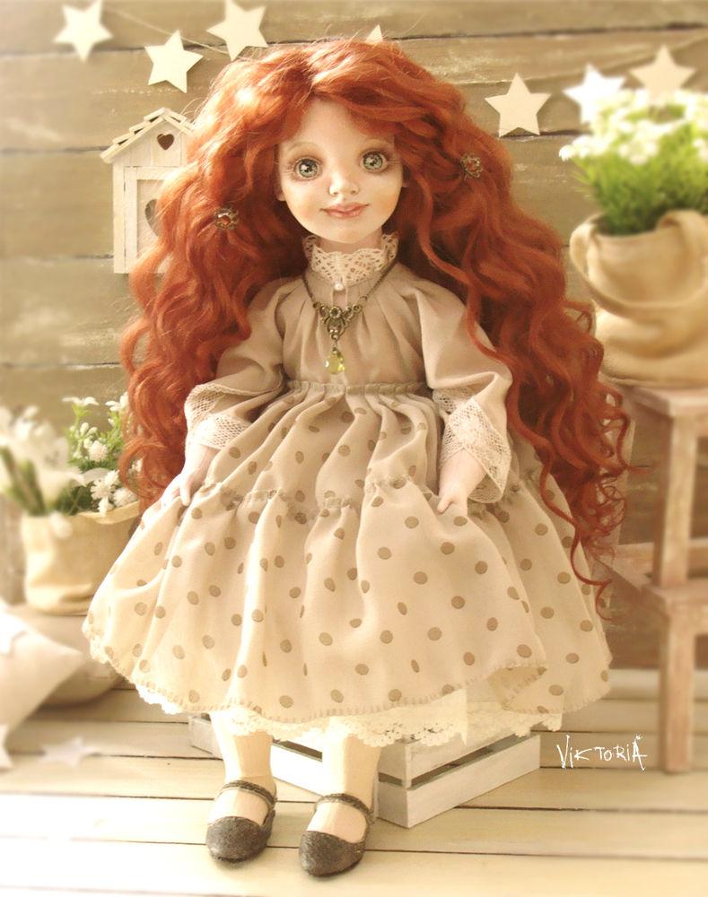 авторская ручная работа, рыжая кукла