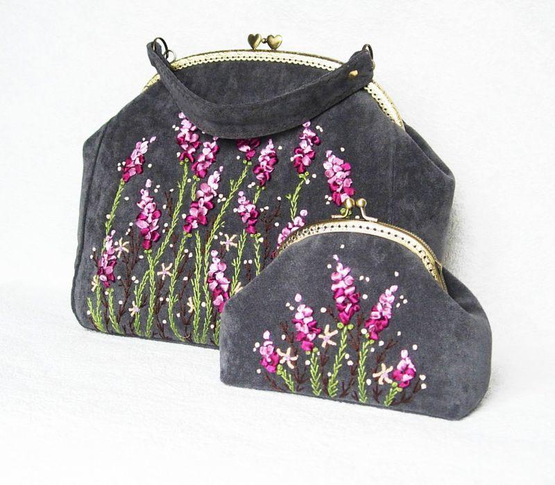 сумка, сумка женская, вереск, вышивка, сумка с вышивкой