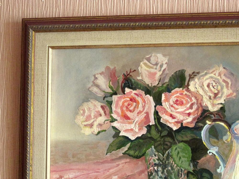 картина в раме, натюрморт с цветами, живопись маслом, красивая картина купить, авторская работа, розовый цвет, чайник, лимон