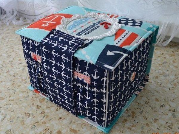 Декорируем высокий бок коробочки удобным тканевым карманом: видеоурок   Ярмарка Мастеров - ручная работа, handmade