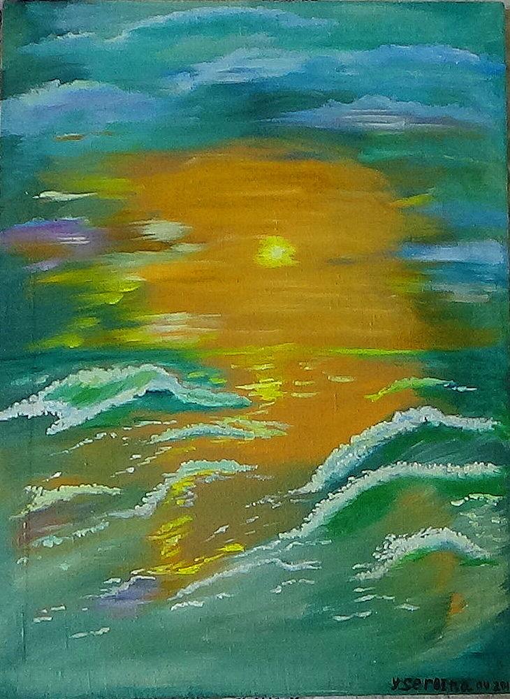 картина маслом, живопись, морской пейзаж, картина на холсте