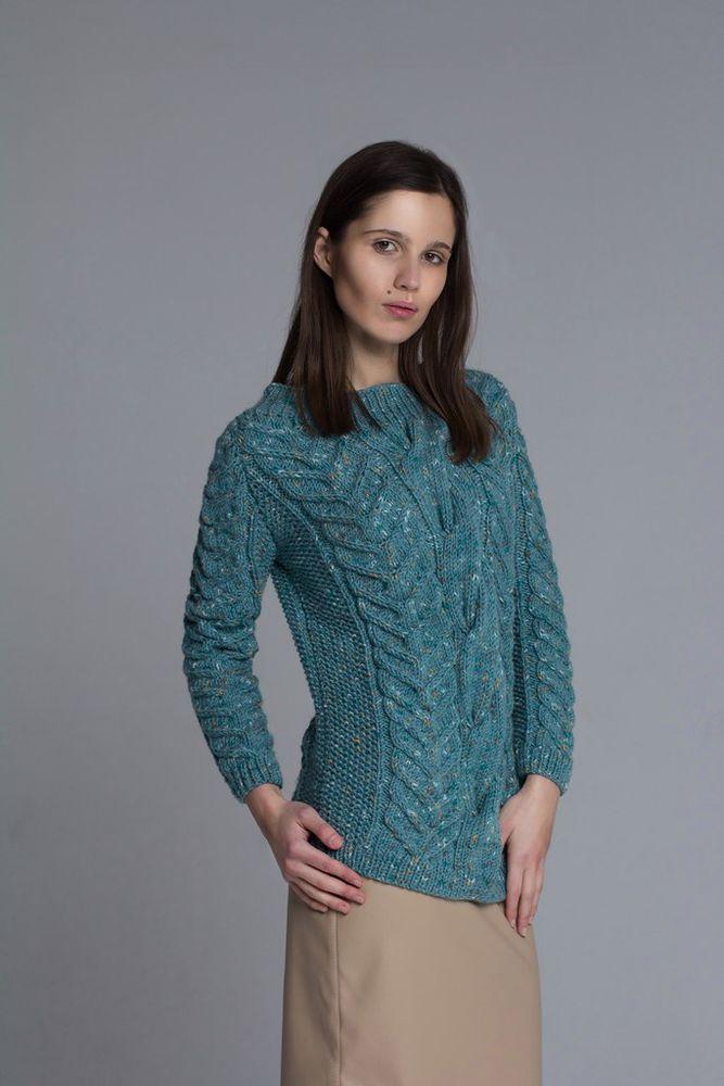 женский свитер, подарок, полушерсть, зеленый