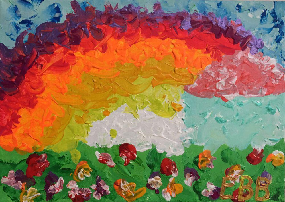 радуга, картина с радугой, новости, презентация, дцп, художник с дцп, дцп не приговор, картина в детскую, картина-радость, картина детства, пейзаж с домиком, домик и радуга