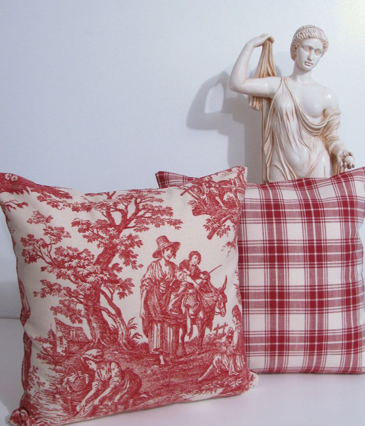 Two Decorative Designer  Red  Toile  Pillow covers.  Expensive!