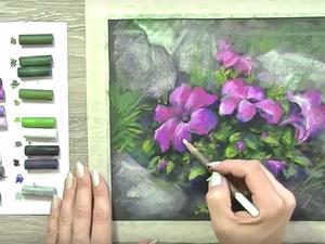 Видеоурок: рисуем петуньи сухой пастелью. Ярмарка Мастеров - ручная работа, handmade.