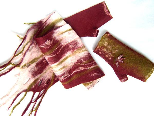 шарф и митенки валяные, шарфы шерстяные, подарок на 8 марта
