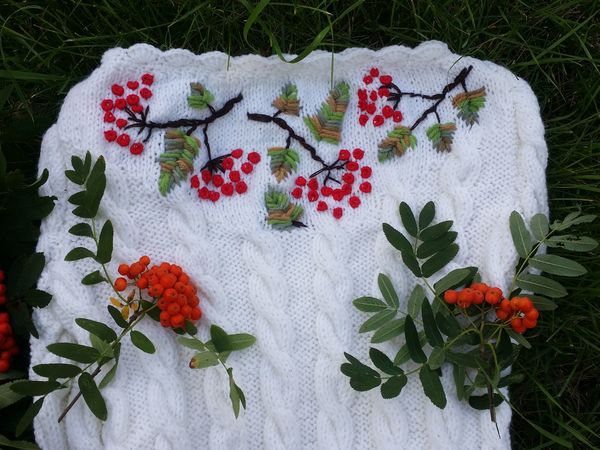 Мастер-класс: вышивка «Рябинка» на вязаном платье | Ярмарка Мастеров - ручная работа, handmade