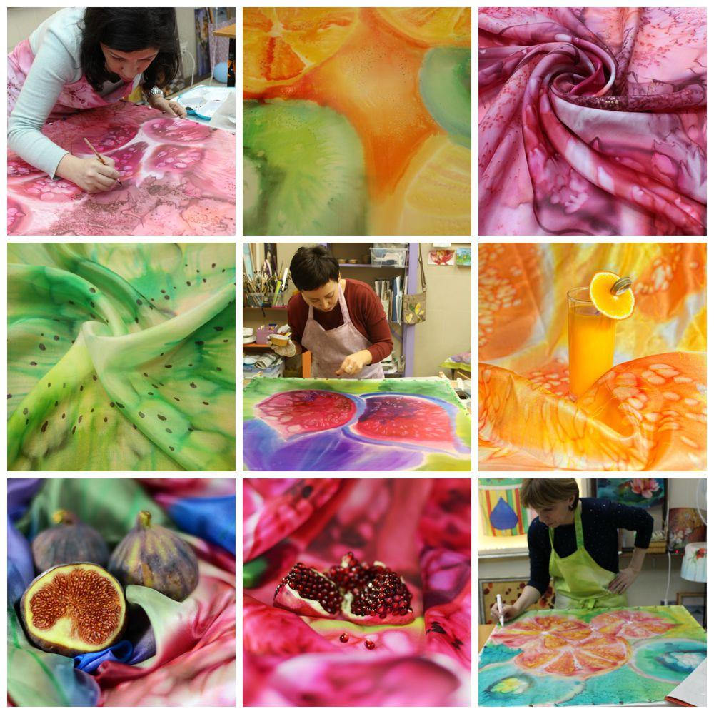 шёлк, батик, батик платок, батик своими руками, рисунок на ткани, учёба, мастер-класс, авторская работа, фрукты, ткани, батик handmade