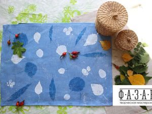 Украшаем льняную салфеточку отпечатками листьев. Ярмарка Мастеров - ручная работа, handmade.