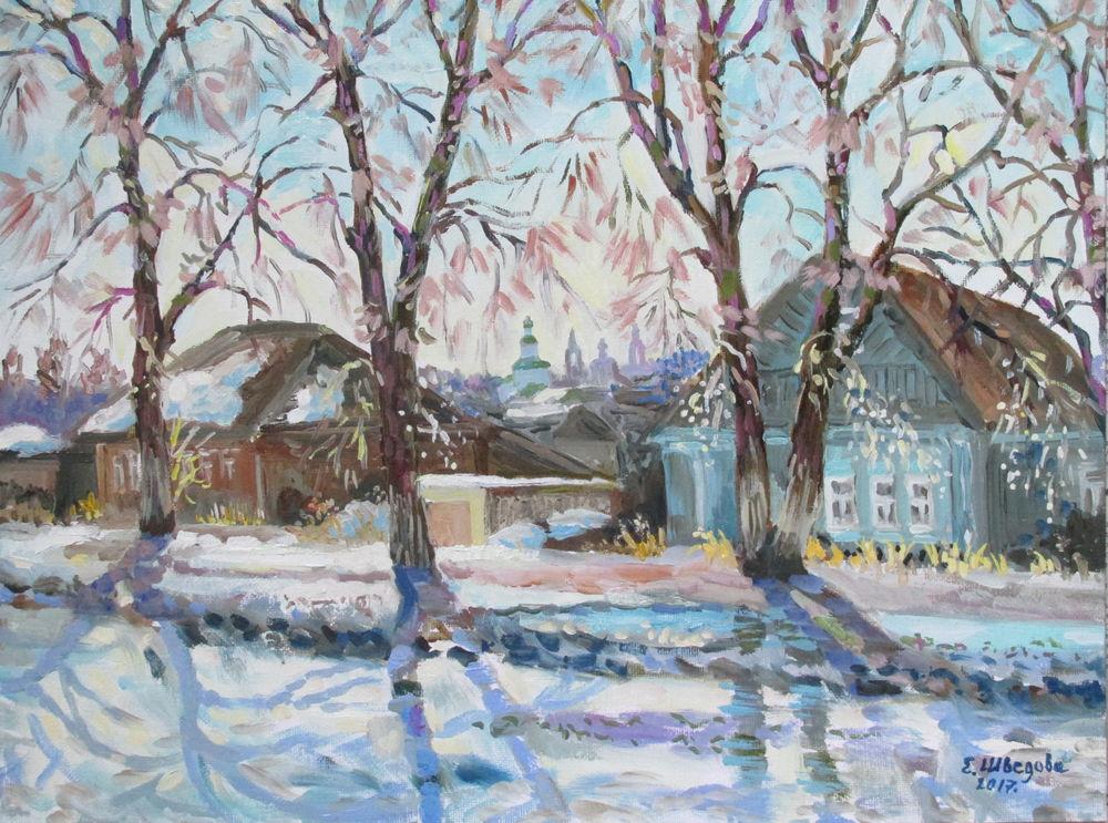новая картина, картина маслом пейзаж, весна, купить картину в москве, картина для настроения, живопись маслом, солнечный день, красивая картина купить, деревня