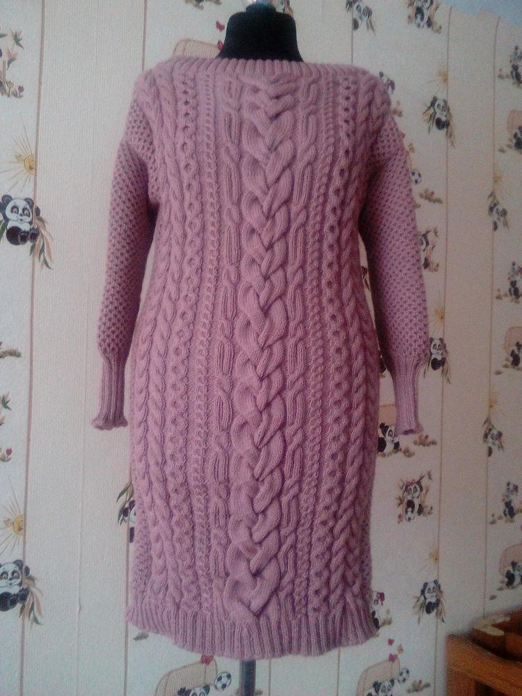 платье вязаное, полушерсть, араны, пуловер спицами
