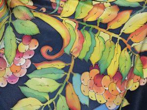 Расписываем платок «Уральская рябинка» в технике холодный батик. Ярмарка Мастеров - ручная работа, handmade.