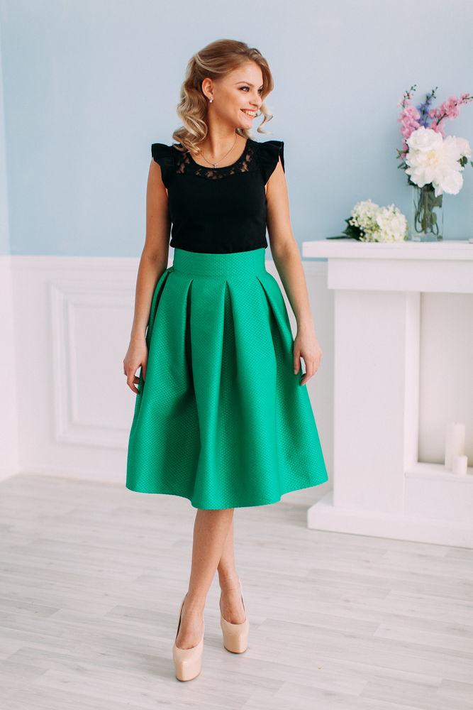 зеленая юбка, пышная юбка