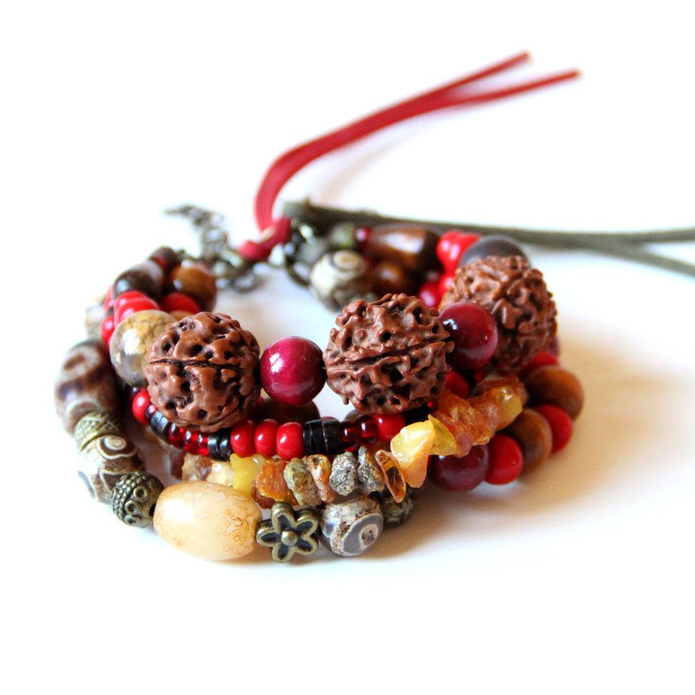 комплект украшений, браслеты, браслет с камнями, подарок на день рождения, бохо стиль, хиппи
