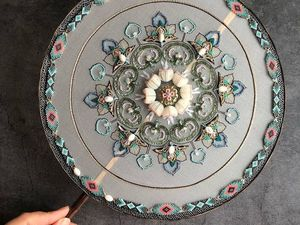 Exquisite Geometric Embroidery on the Example of Fans by Jiaran Studio. Livemaster - handmade