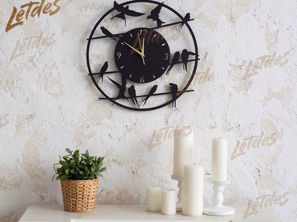 Часы с птичками | Ярмарка Мастеров - ручная работа, handmade