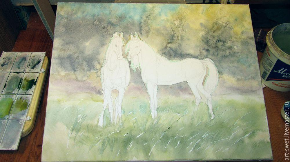 Как рисовать лошадок акварелью, фото № 7