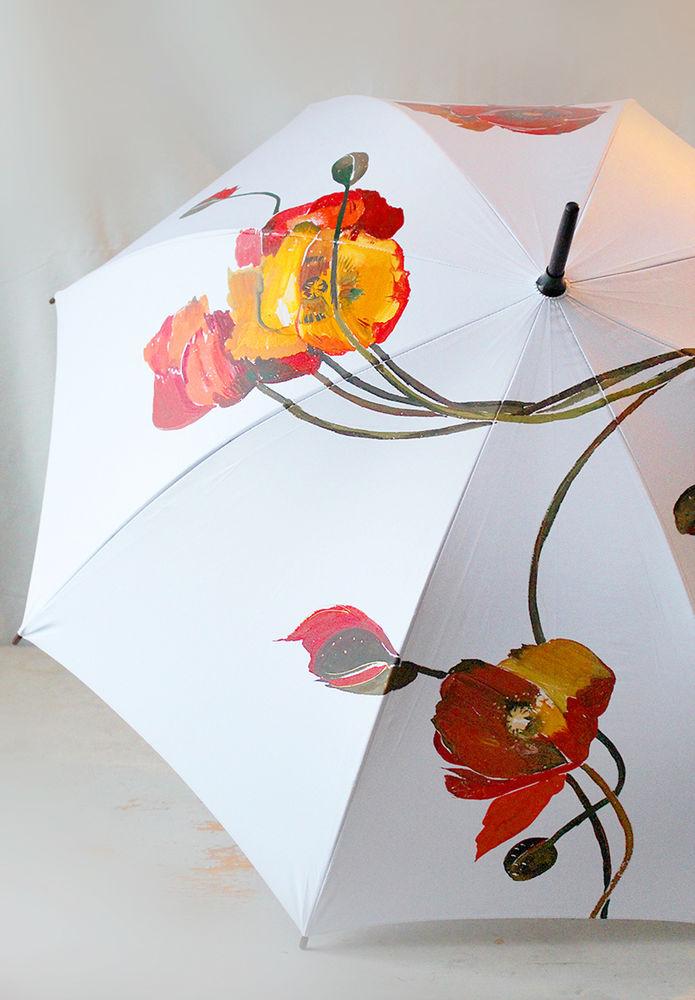 Открытка с зонтом и цветами