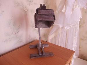 Деревянная настольная лампа в стиле «рустик» | Ярмарка Мастеров - ручная работа, handmade