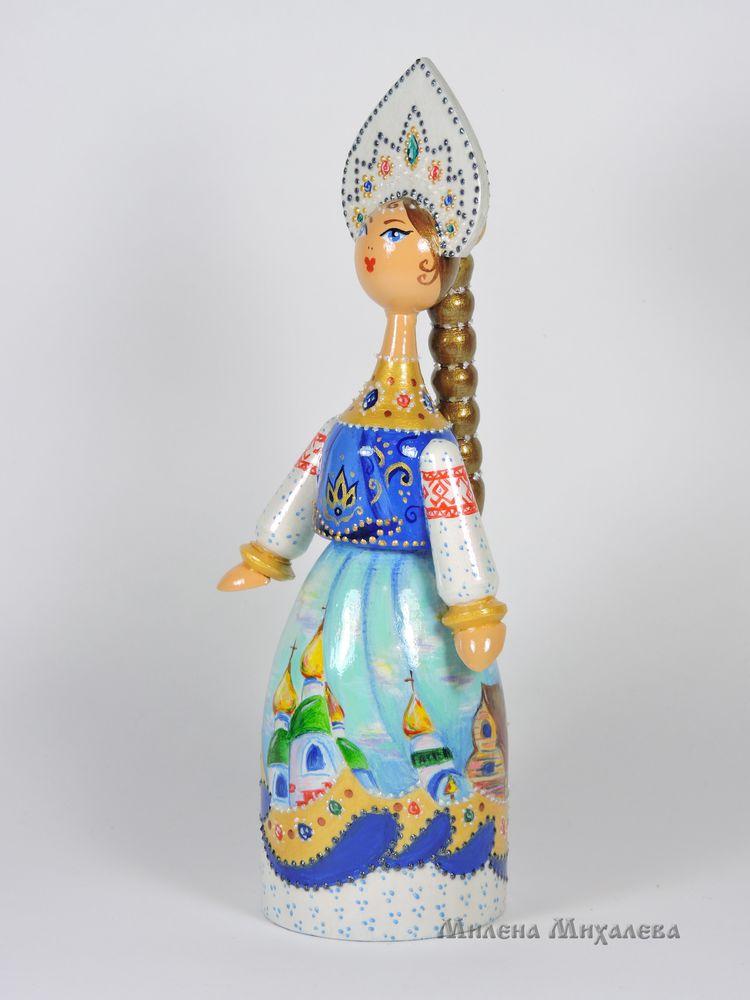 куклы в русском стиле, русская краса, кукла в подарок, кукла из дерева, подарок иностранцу, кокошник, русский народный костюм, сувенирная кукла, роспись по дереву