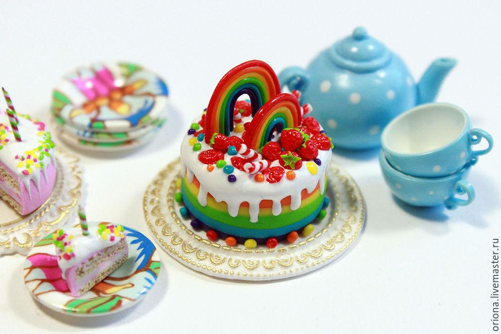тортик, пластика, еда для кукол, урок лепки